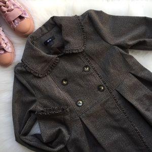 Brown Herringbone Button Up Coat